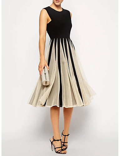 cheap Cocktail Dresses-A-Line Little Black Dress Black Wedding Guest Cocktail Party Dress Jewel Neck Sleeveless Knee Length Polyester with Pleats 2020