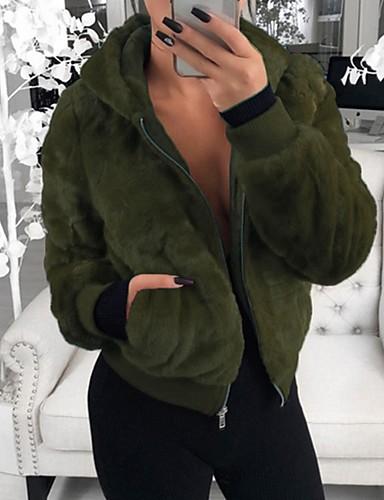levne Dámské blejzry a bundy-Dámské Denní Podzim zima Standardní Bunda, Jednobarevné Kapuce Dlouhý rukáv Polyester Černá / Fialová / Armádní zelená