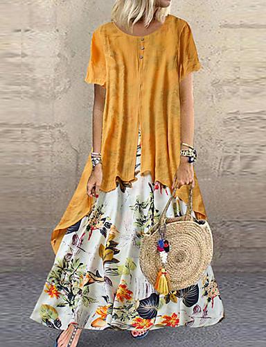 رخيصةأون فساتين مطبوعة-نسائي قياس كبير فستان قطعتين فستان طويل - كم قصير ورد متعدد الطبقات أزرار طباعة الصيف كاجوال مناسب للعطلات عطلة فضفاض 2020 أرجواني أصفر زهري برتقالي أخضر M L XL XXL XXXL XXXXL 5XL