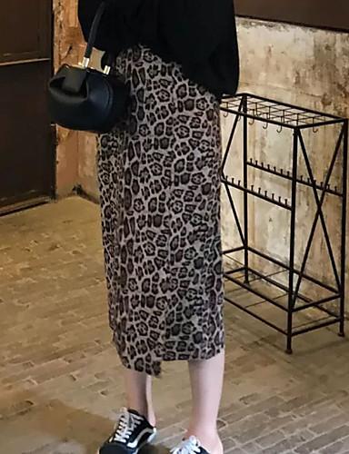 billige Skjørt-Dame Sexy / Gatemote Sluk til storfisk Skjørt Leopard Trykt mønster Brun XS S M / Semsket