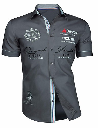 Homens Camisa Social Estampado, Geométrica Preto