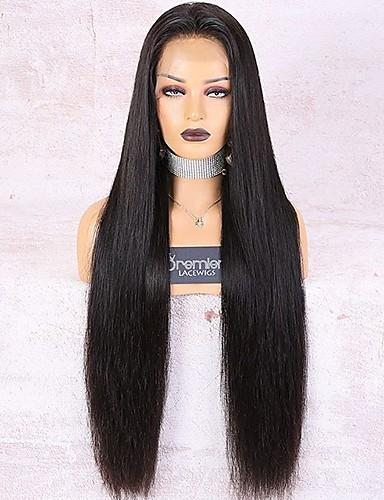 abordables Pelucas de Cabello Natural-pelucas premierwigs 360 peluca de encaje cabello humano remy brasileño 30 pulgadas 180% de densidad nudos largos, sedosos, rectos y blanqueados nudos preenchufados con cabello de bebé