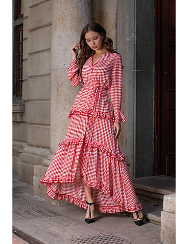 voordelige Maxi-jurken-Dames Standaard Schede Jurk - Pied-de-poule, Ruche Split Patchwork Maxi Rood