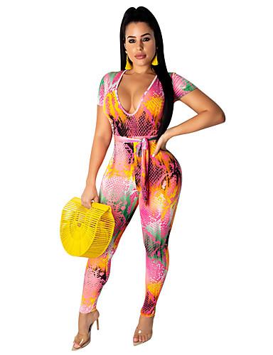 billige Jumpsuits og sparkebukser til damer-Dame Bohem / Gatemote Regnbue Kjeledresser, Regnbue Snorer S M L