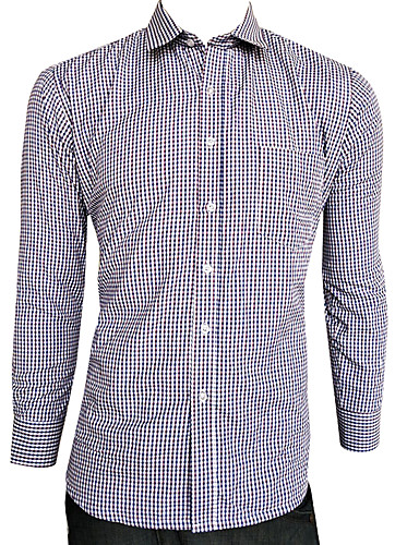 voordelige Herenoverhemden-Heren Standaard Overhemd Ruitjes blauw