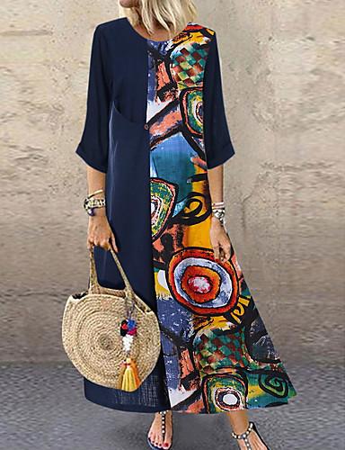 levne Maxi šaty-Dámské A Line Šaty - Geometrický Midi