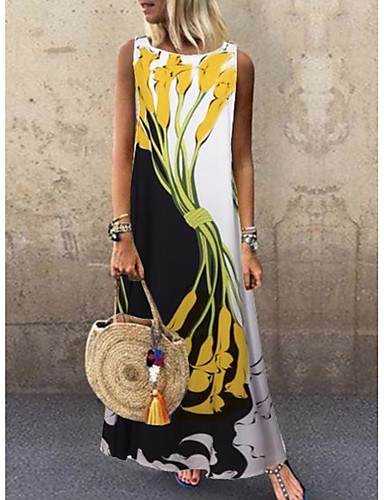 cheap Boho Dresses-Women's Plus Size Maxi Dress - Sleeveless Floral Print Spring & Summer Casual Holiday Vacation 2020 White Yellow S M L XL XXL XXXL XXXXL XXXXXL