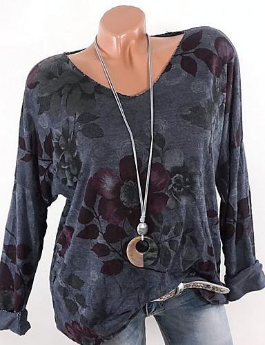 billige T-skjorter til damer-V-hals T-skjorte Dame - Blomstret Hvit