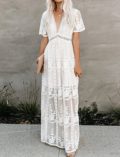 cheap Boho Dresses-Women's Maxi Swing Dress - Short Sleeve Floral Solid Color Lace V Neck Elegant Cocktail Party Going out Birthday White S M L XL