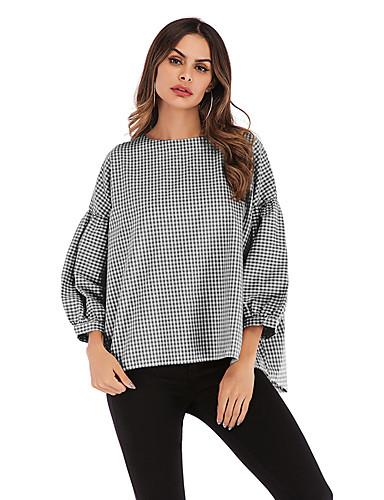 billige T-skjorter til damer-T-skjorte Dame - Rutet, Lapper Gatemote / Elegant Svart