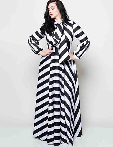 levne Maxi šaty-Dámské Šik ven Elegantní A Line Pouzdro Swing Šaty - Barevné bloky Pléd Kostičky, Šněrování Maxi Černá a Bílá Černá a šedá Černá