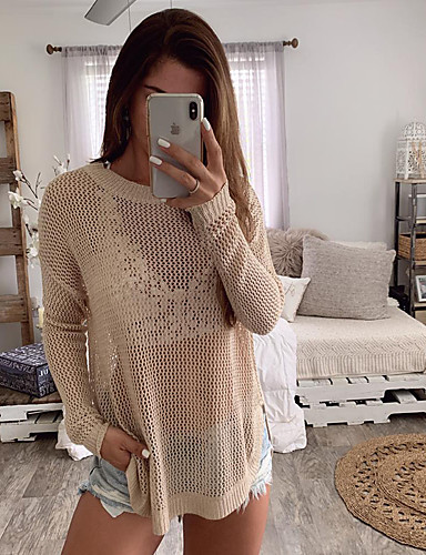 cheap Women's Tops-Women's Solid Colored Long Sleeve Loose Pullover Sweater Jumper, Jewel Neck Spring / Fall Orange / Yellow / Khaki S / M / L
