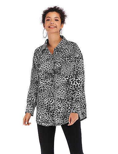 billige Dametopper-Bluse Dame - Leopard Gatemote / Elegant Svart