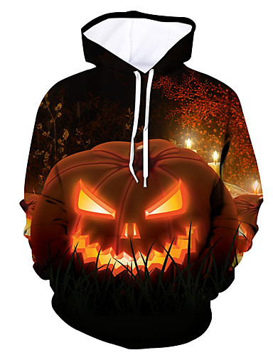 cheap Happy Halloween-Men's Active / Halloween Hoodie - Color Block / Skull Orange US32 / UK32 / EU40