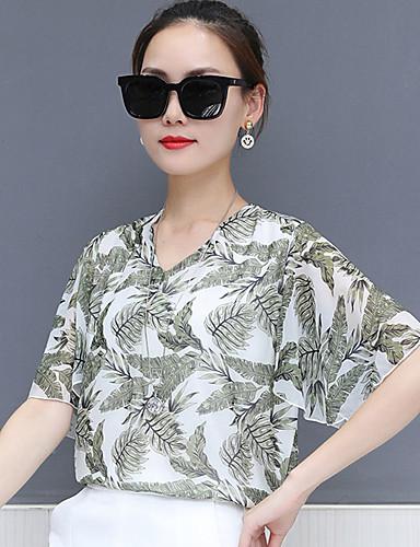 billige Dametopper-T-skjorte Dame - Geometrisk, Trykt mønster Vintage / Gatemote Svart