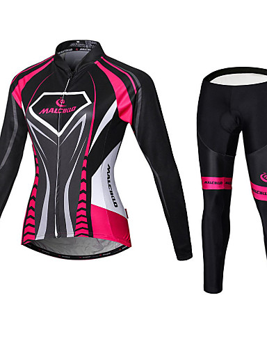 cheap Cycling Jersey & Shorts / Pants Sets-Malciklo Women's Long Sleeve Cycling Jersey with Tights Winter Fleece Velvet Purple Yellow Red Plus Size Bike Jersey Bib Tights Clothing Suit Fleece Lining Breathable 3D Pad Quick Dry Back Pocket