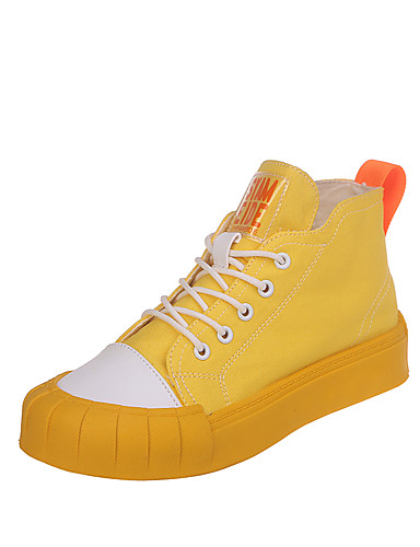 billige Shoes & Bags Must-have-Dame Treningssko Flat hæl Rund Tå Lerret Fritid Gange Vår & Vinter Gul / Grønn / Beige