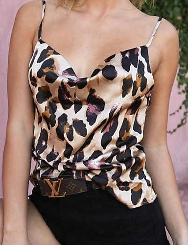 billige Dametopper-Bluse Dame - Leopard Bohem / Gatemote Fantastiske dyr Hvit