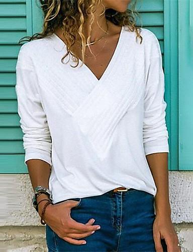 billige Dametopper-V-hals Store størrelser T-skjorte Dame - Ensfarget Svart
