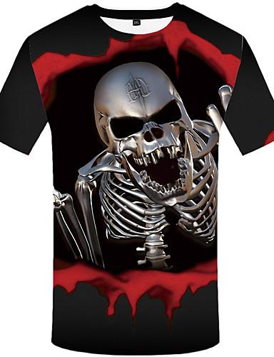 voordelige Uitverkoop-Heren Vintage Print T-shirt Doodskoppen Zwart & Rood Zwart