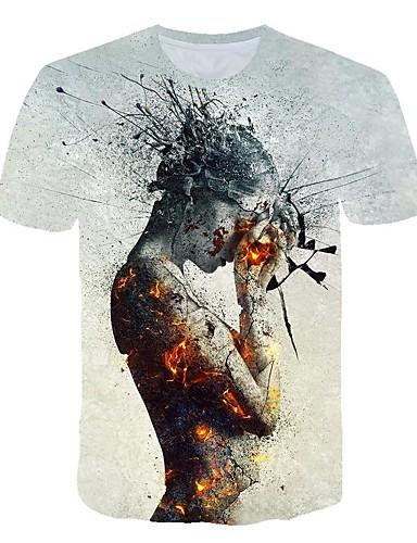 Homens Camiseta Moda de Rua / Exagerado Estampado, Estampa Colorida / 3D / Desenho Animado Cinza Claro