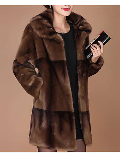 cheap Women's Fur & Faux Fur Coats-Women's Daily Basic Plus Size Regular Faux Fur Coat, Solid Colored Turndown Long Sleeve Faux Fur Red / Brown
