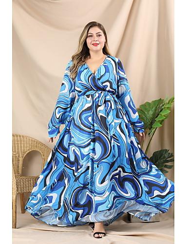 levne Šaty velkých velikostí-Dámské Šik ven Elegantní A Line Swing Šaty - Geometrický Barevné bloky, Plisé Šněrování Tisk Maxi Modrá