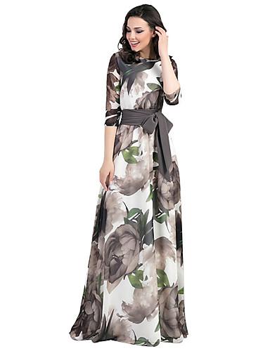 levne Maxi šaty-Dámské Vintage Elegantní Pouzdro Swing Šaty - Květinový, Šněrování Tisk Maxi