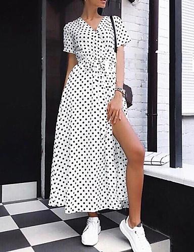 voordelige Maxi-jurken-Dames Verfijnd Elegant Schede Chiffon Jurk - Polka dot, Print Maxi