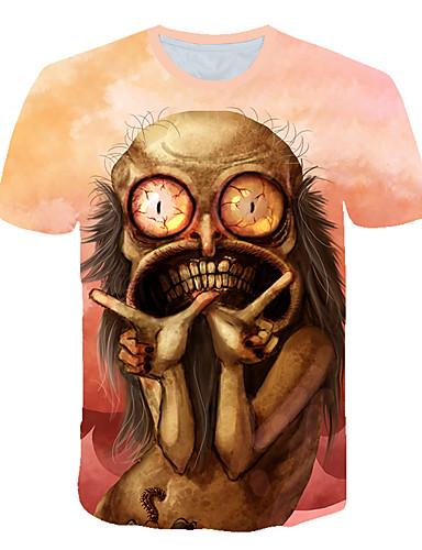 Homens Camiseta Moda de Rua / Exagerado Estampado, Estampa Colorida / 3D / Desenho Animado Castanho Claro