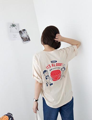 billige Dametopper-T-skjorte Dame - Ensfarget / Tegneserie Svart