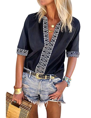 billige Skjorter til damer-Skjorte Dame - Geometrisk, Trykt mønster Bohem Svart