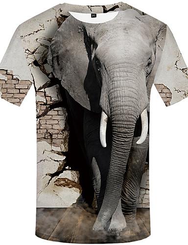 voordelige Uitverkoop-Heren Vintage Print T-shirt dier Lichtgrijs