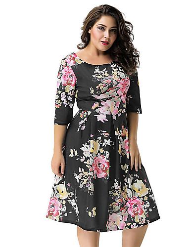 voordelige Grote maten jurken-Dames Chinoiserie Verfijnd Schede Jurk - Bloemen, Blote rug Tot de knie