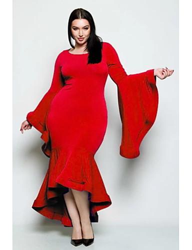 voordelige Maxi-jurken-Dames Street chic Elegant Schede Trompet / zeemeermin Jurk - Effen, Ruche Patchwork Maxi Zwart grijs Zwart Rood