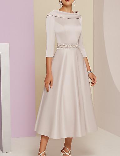 cheap Wedding Guest Dresses-A-Line Mother of the Bride Dress Elegant Vintage Plus Size Bateau Neck Tea Length Satin 3/4 Length Sleeve with Beading 2020
