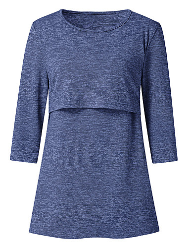 cheap Maternity Tops-Women's Daily Wear Basic T-shirt - Solid Colored Blue