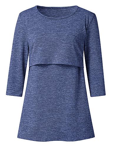 billige T-skjorter til damer-T-skjorte Dame - Ensfarget Grunnleggende Blå