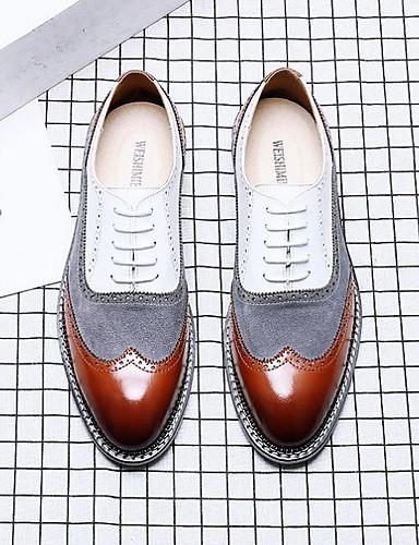 billige Oxford-sko til herrer-Herre Komfort Sko Fuskelær Sommer Oxfords Fargeblokk Hvit / Brun