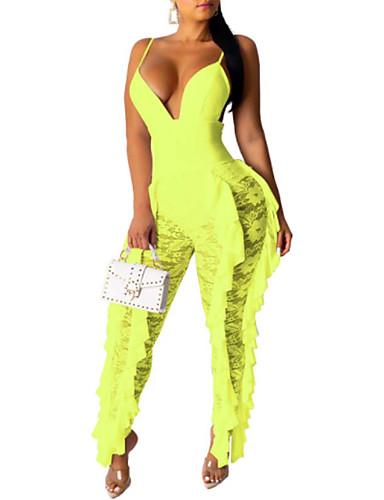 billige Jumpsuits og sparkebukser til damer-Dame Aktiv / Grunnleggende Svart Hvit Oransje Kjeledresser, Ensfarget Blonde / Drapering / Lace Trim S M L
