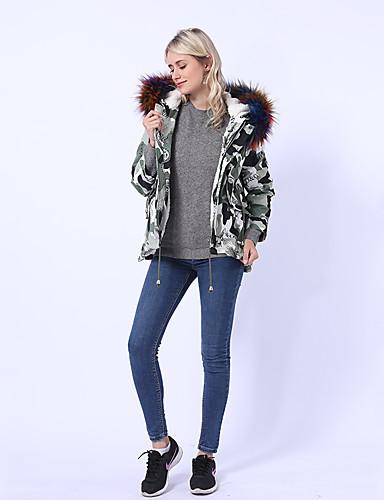 voordelige Damesjassen & trenchcoats-Dames uitgaan basic herfst & winter normale jas, effen / camo / camouflage capuchon lange mouw nylon bont trim zwart / wit / regenboog / los