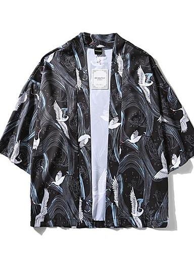 levne Pánská saka a kabáty-Pánské Denní Základní EU / US velikost Standardní kimono Jacket, Geometrický Košilový límec Dlouhý rukáv Polyester Černá