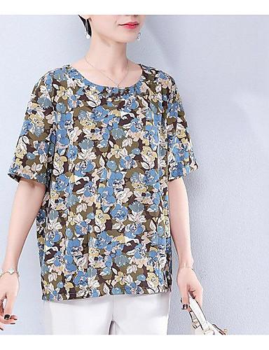 billige Dametopper-T-skjorte Dame - Geometrisk / Galakse, Trykt mønster Vintage / Grunnleggende Orangutang / Rose / Magiske kuber Blå