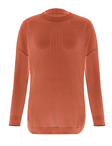 billige Dametopper-Dame Ensfarget Langermet Pullover, Besmykket Vår / Høst Oransje / Gul / Kakifarget S / M / L