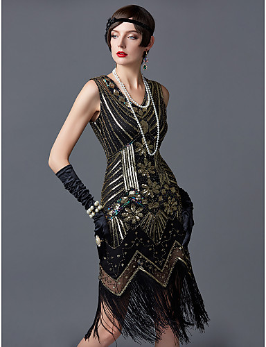 preiswerte Cosplay & Kostüme-The Great Gatsby Charleston Retro 20er Flapper Kleid Cocktailkleid Ballkleid Damen Pailletten Quaste Paillette Kostüm Schwarz / Golden / Golden + schwarz Vintage Cosplay Party Abschlussball Abiball