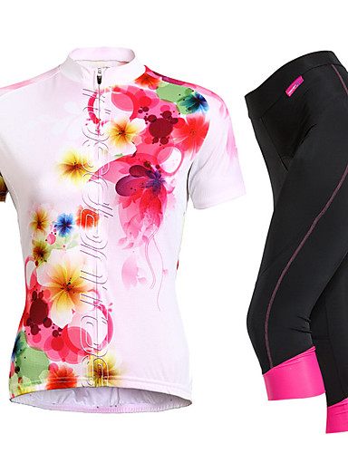 povoljno ljetni popust-TASDAN Žene Kratkih rukava Biciklistička majica s kratkim hlačama Crn Cvjetni / Botanički Veći konfekcijski brojevi Bicikl Kratke hlače Biciklistička majica Sportska odijela Prozračnost Pad 3D Quick