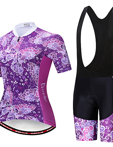 cheap Cycling-EVERVOLVE Floral Botanical Women's Short Sleeve Cycling Jersey with Bib Shorts - White Black Bike Clothing Suit Anatomic Design Quick Dry Moisture Wicking Sports Summer Polyster Lycra Cotton Mountain