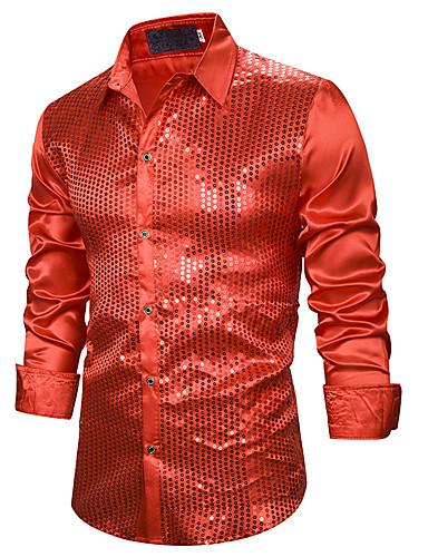 Homens Tamanho Europeu / Americano Camisa Social - Bandagem Básico / Sensual Paetês, Sólido Colarinho Clássico Azul / Vermelho Preto / Manga Longa