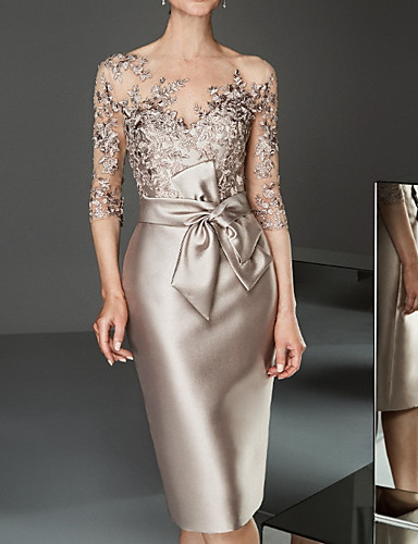 preiswerte Schöne Damenmode-Damen Elegant Spitze Schlank Bodycon Kleid Solide Knielang Bateau
