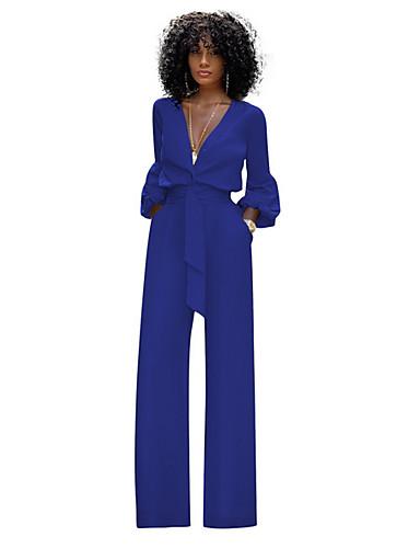 billige Jumpsuits og sparkebukser til damer-Dame Svart Hvit Blå Sparkedrakter, Ensfarget S M L